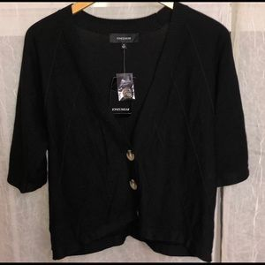 Jones Wear Black Cardigan Cotton New